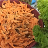 grated sweet potato for the crustless pie