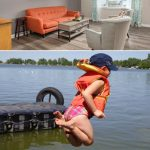 A collage with the top image a photo of my living room couch and furniture ready for staging and selling, and the bottom image a shot of my daughter leaping off a dock into the lake of my childhood