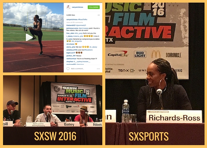 Collage showing images of Olympian Sanya Richards-Ross and other SXsports panelists at SXSW 2016.