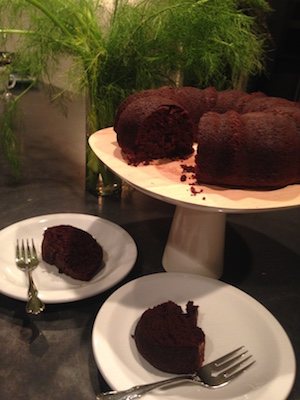 Beet Bundt Cake with Two Slices