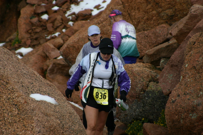 Leah Nyfeler on final climb to Summit at 2005 Pikes Peak Marathon