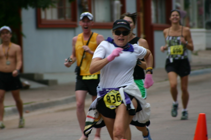 Leah Nyfeler finishing 2005 Pikes Peak Marathon