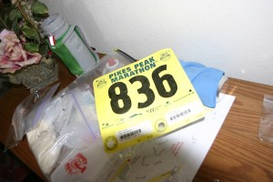 Bib for 2005 Pikes Peak Marathon