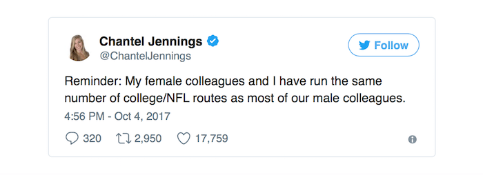 Screen shot of Chantel Jennings Twitter response to Cam Newton's sexist treatment of female sports reporter.