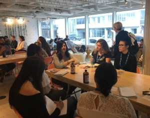Stephanie Carls, SMWATX 2018, leads a group at The Refinery