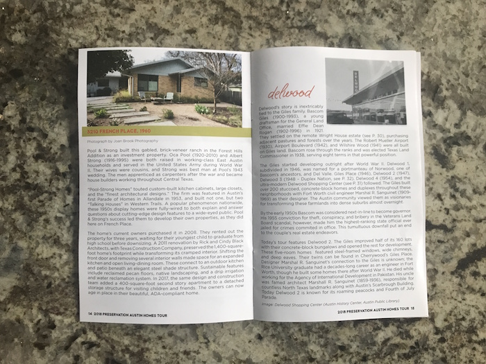"Information on French Place house and Delwood neighborhood in Preservation Austin Homes Tour 2018 ""Into the Woods"" booklet"