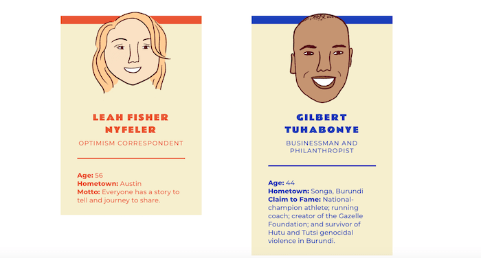 Illustration of Leah Fisher Nyfeler, Optimism Correspondent, and Gilbert Tuhabonye, for Texas Optimism Project through Texas Monthly