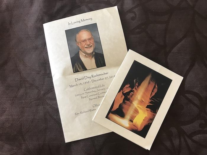 David Rademacher celebration of life program and photograph