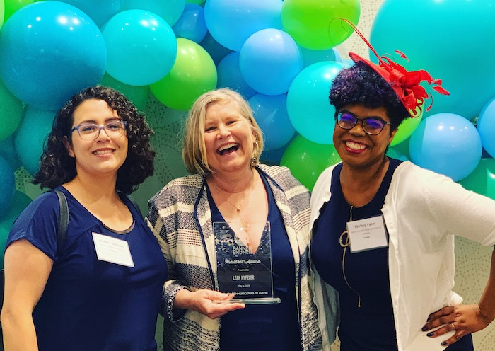 Natalie Gonzalez, Leah Fisher Nyfeler, and Chrissy Yates at Women Communicators of Austin's 2019 Banner Brunch