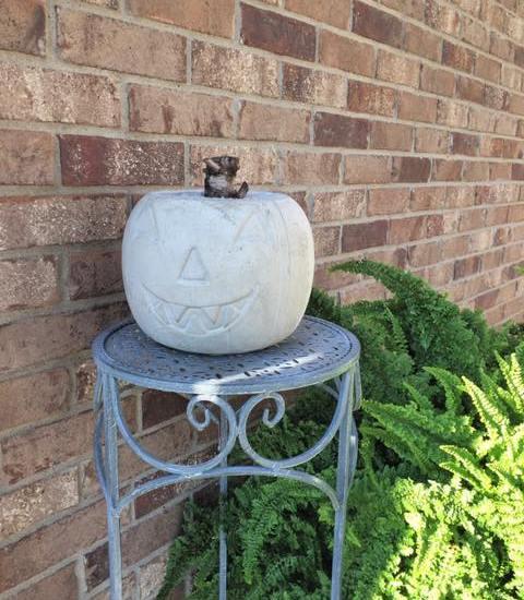 DIY Fall Concrete Pumpkin
