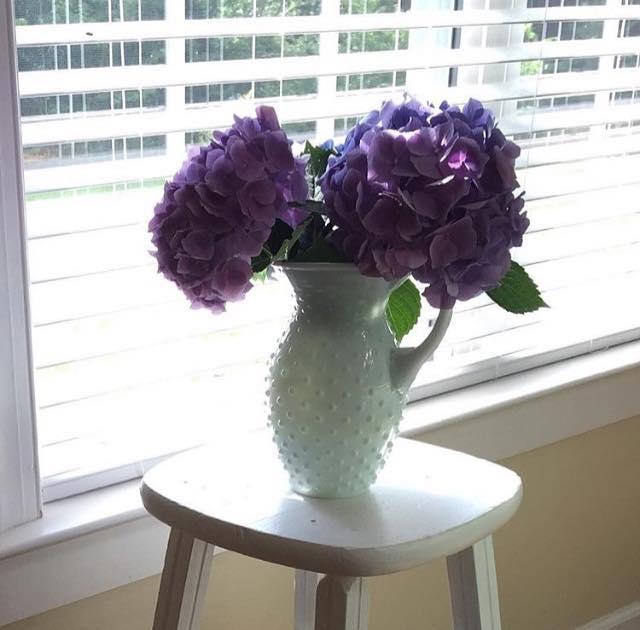 hydrangea milk glass pitcher