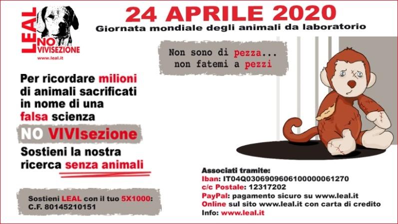 24 APRILE LEAL CELEBRA GLI ANIMALI RINCHIUSI E UCCISI NEI LABORATORI: DOPO 41 ANNI È UNA FESTA DA DISMETTE CON L'ABOLIZIONE DELLA VIVISEZIONE