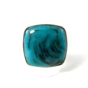 bague carr    e turquoise p    tepolym    re grosse bague made in france Bague turquoise carr    e
