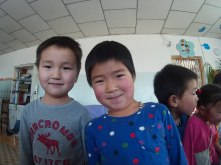 Two kids from a local kindergarten in Bayankhongor province.