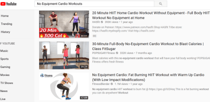 no equipment cardio capture