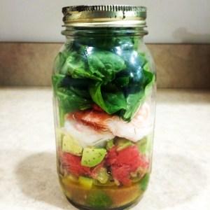 Shrimp, Avocado, and Grapefruit Mason Jar Salad