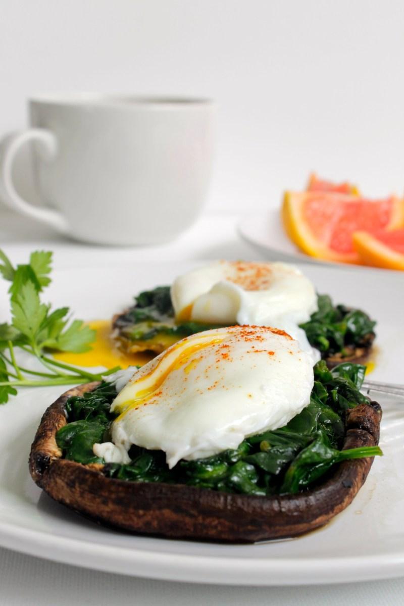 Portobello Mushroom Eggs Florentine