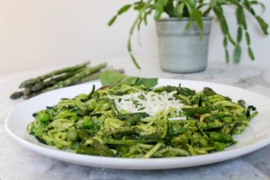 Pesto Zucchini Noodles with Spring Veggies