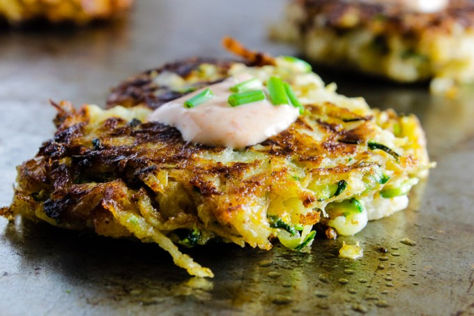 Kohlrabi and Zucchini Fritters with Sriracha Mayo
