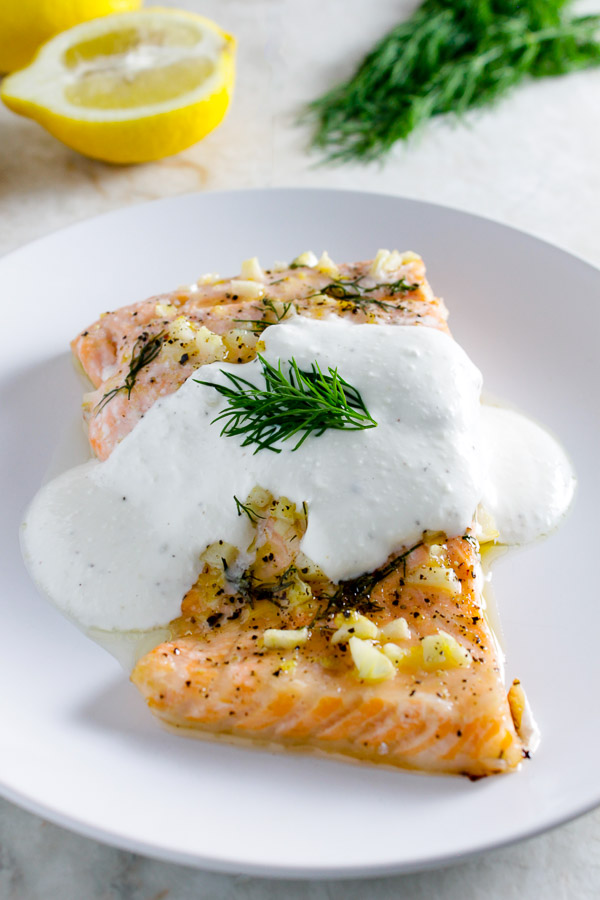 Lemon Dill Salmon with Feta Yogurt Sauce - Lean Green ...