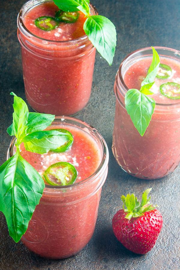 Spicy Watermelon Strawberry Gazpacho