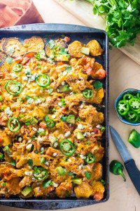 Buffalo Chicken Sweet Potato Nachos