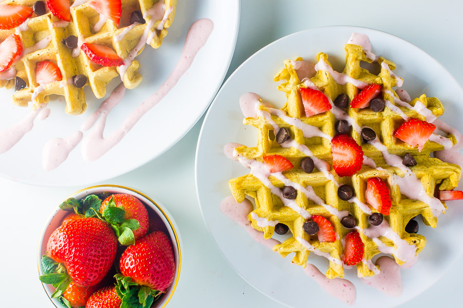 Oat Waffles with Strawberry Cream Cheese Syrup