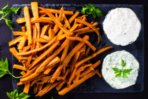 Moroccan Carrot Fries with Parsley Aioli and Feta Dip