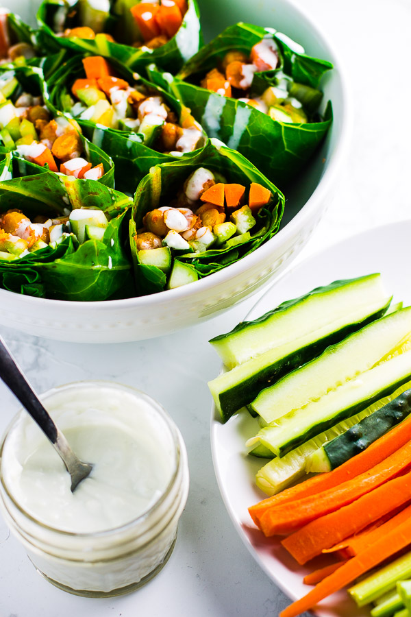 Buffalo Chickpea Collard Green Wraps