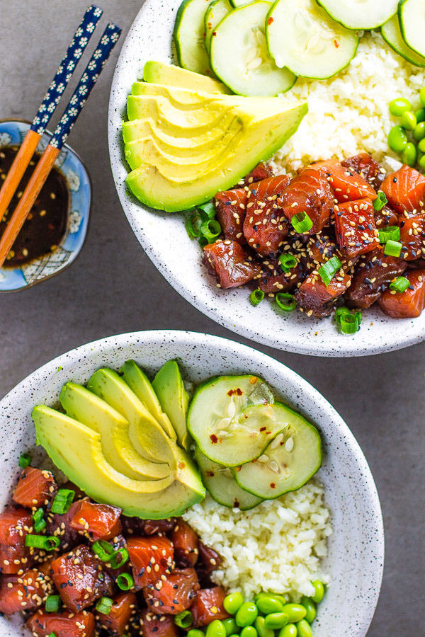 Cauliflower Rice Salmon Poke Bowl Lean Green Nutrition Fiend