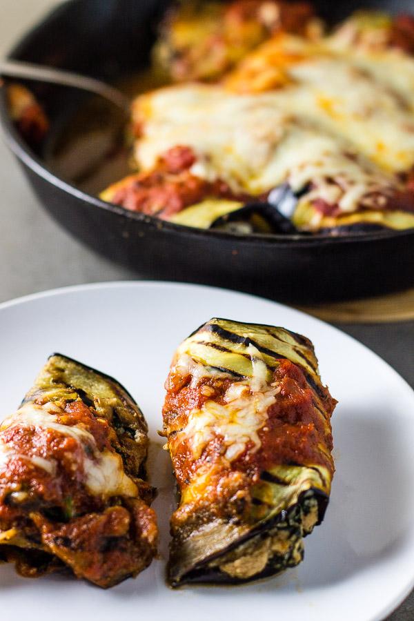 Mushroom Spinach Eggplant Rollatini