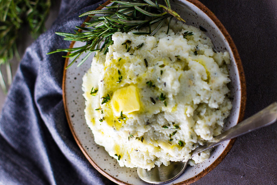 Garlic Herb Mashed Cauliflower