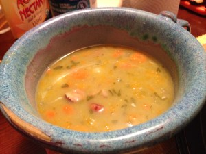Home made crock pot split pea soup