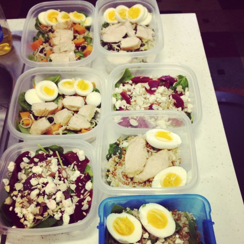 Last week's salad prep for hubby and me
