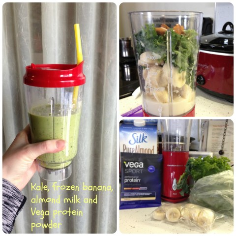 1/2 cup (firmly packed) kale, 1 frozen banana, 2/3 cup unsweetened almond milk, 1 tbsp. Vega protein powder, 6-8 whole roasted almonds