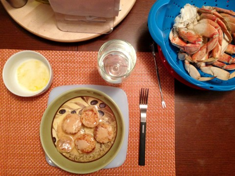 Scallops and crab