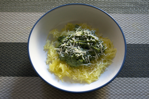 Spaghetti Squash with Avocado Parsley Pesto – 2 ways!