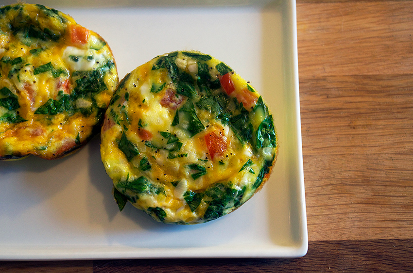 Spinach Tomato and Cheddar Muffin Pan Frittatas
