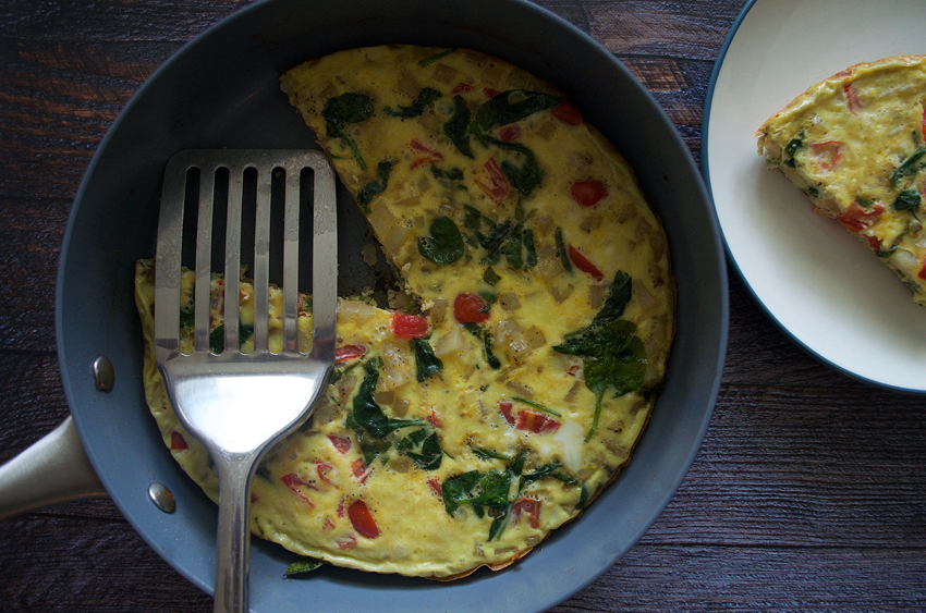 Spinach, Tomato and Potato Frittata