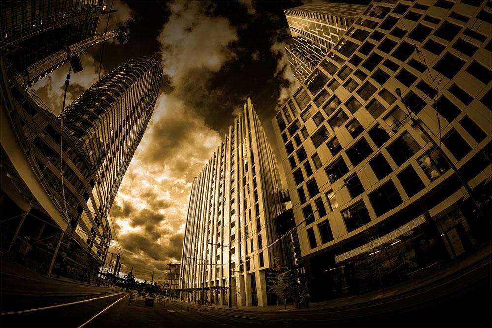 docklands-building-architecture-fisheye-melbourne-monochrome