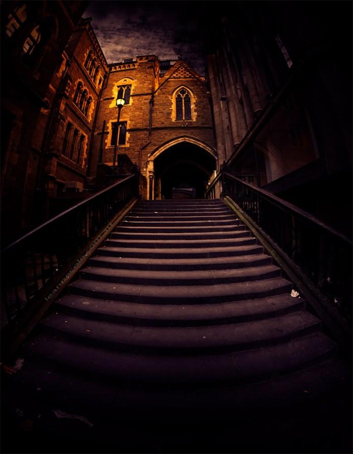 stpauls-cathedral-steps-melbourne-fisheye