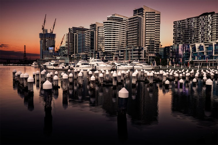 The sun rising at Docklands