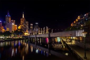 Sandridge Bridge into the city after dark