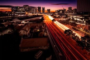 light-trails-wurundjeriway-melbourne-sunset