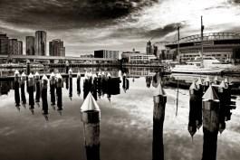 monochrome-acdsee-docklands-morning-melbourne