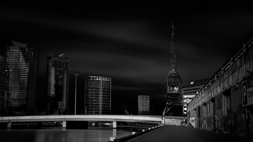 southwharf-longexposure-river-melbourne-monochrome