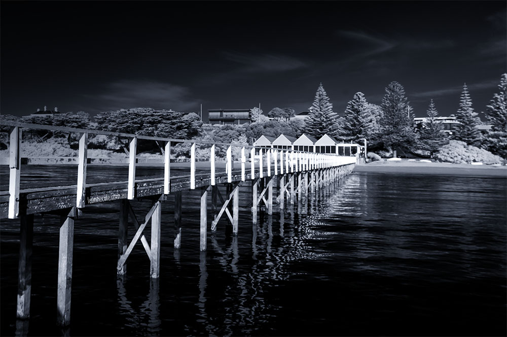 sorrento-infrared-pier-sunny-monochrome