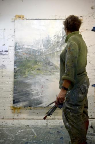 Leanne Christie painting large Urban Oil