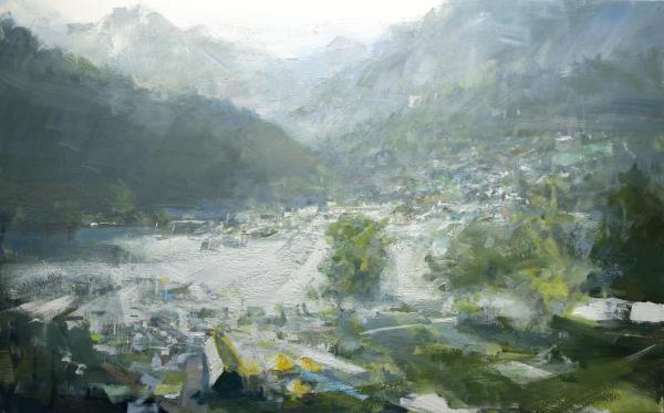 Painting of water and mountains by painter Christie