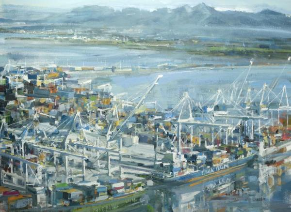 Oil painting of the Delta Ports by oil painter leanne m christie